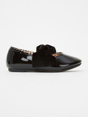 Black Patent Velour Bow Shoes