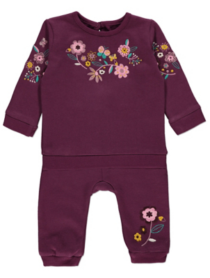 Purple Floral Embroidered Sweatshirt and Jogging Bottoms Outfit