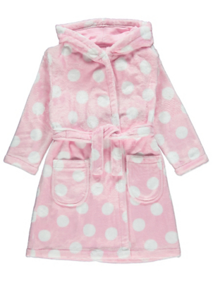 Pink Polka Dot Fleece Dressing Gown