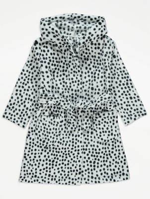 White Polka Dot Fleece Dressing Gown