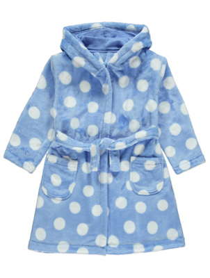 Blue Polka Dot Fleece Dressing Gown