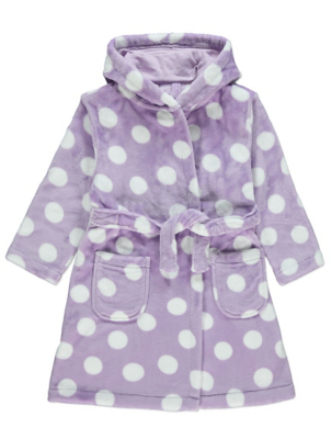 Lilac Polka Dot Fleece Dressing Gown