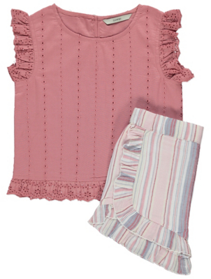 Pink Woven Broderie Anglaise Top and Shorts Outfit