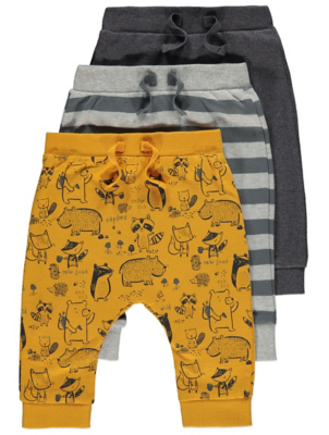 Mustard Yellow Woodland Print Jogging Bottoms 3 Pack