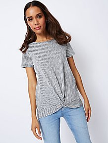 b47da11a39 Black Textured Stripe Twist Front Short Sleeve Top