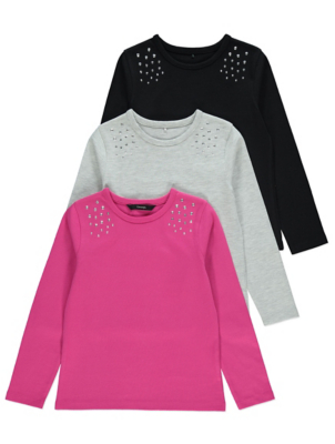 Pink Studded Long Sleeve Tops 3 Pack