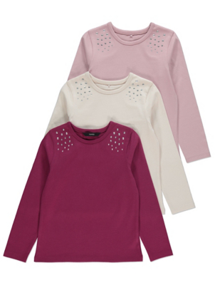 Plum Studded Long Sleeve Tops 3 Pack