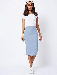 33db14ce71 Blue Ribbed Jersey Midi Pencil Skirt