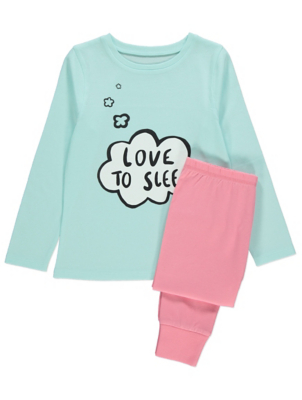 Blue Love to Sleep Slogan Pyjamas