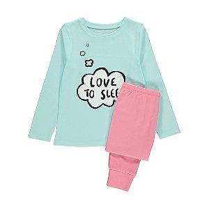 Blue Love to Sleep Slogan Pyjamas