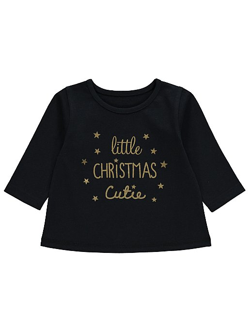 When Is Little Christmas.Black Foil Little Christmas Cutie Slogan Top