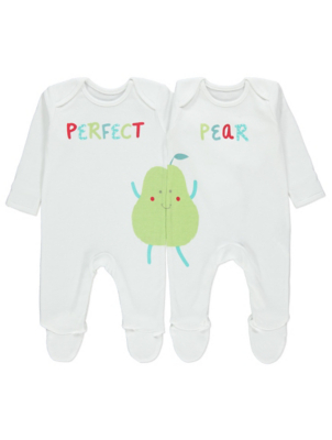 White Perfect Pear Twin Sleepsuits