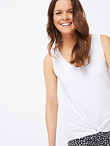 aaef734250194 White Knot Front Vest Top