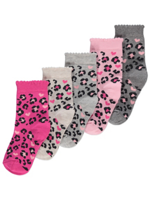 Pink Animal Print Ankle Socks 5 Pack