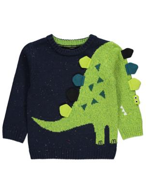 Navy Dinosaur Sleeve Jumper
