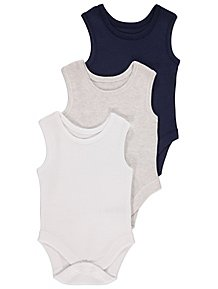 afb7b403683e0 Navy and White Sleeveless Bodysuits 3 Pack