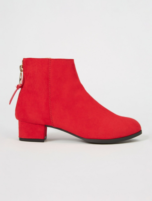 Red Suede Effect Back Zip Ankle Boots