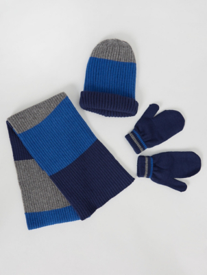 Blue Striped Beanie Hat Scarf and Mittens Set