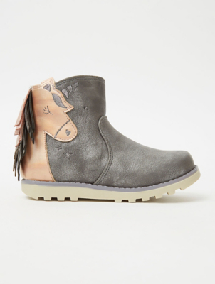 Grey and Pink Unicorn Suede Effect Ankle Boots