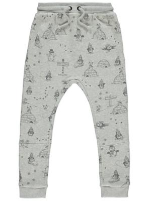 Grey Printed Christmas Joggers