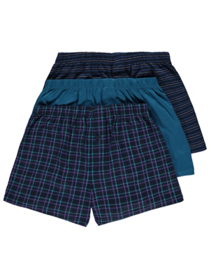 Teal Patterned Jersey Boxers 3 Pack