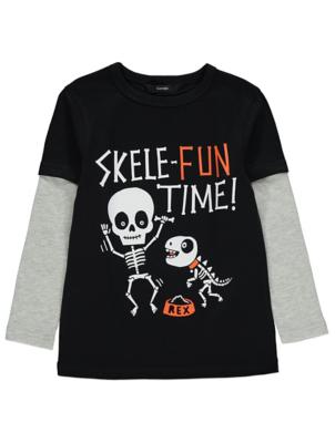 Halloween Skeleton Slogan Top