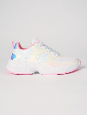 White and Pink Iridescent Glitter Trainers