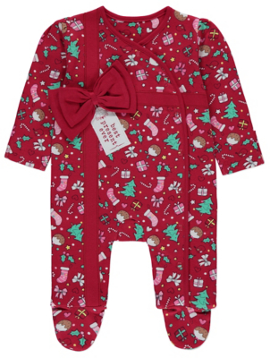 Christmas Red Best Present Ever Sleepsuit