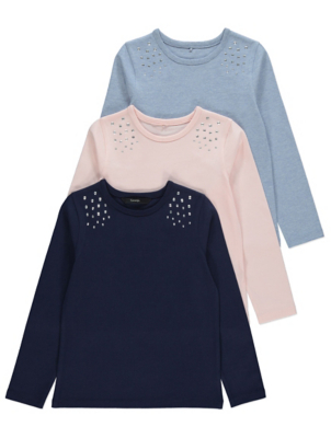 Navy Studded Long Sleeve Tops 3 Pack