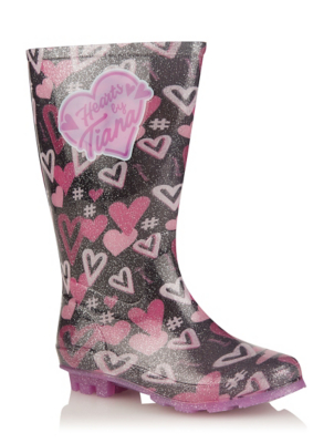 Hearts By Tiana Silver Glitter Wellington Boots