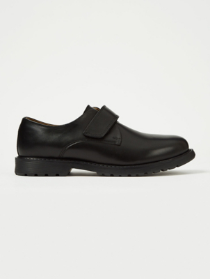 Boys Black Leather School Chunky 1 Strap Shoes
