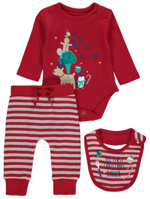Red First Christmas Bodysuit Bib and Jogging Bottoms Outfit