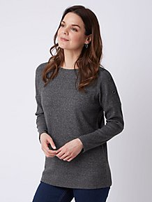 9f1f6554e1 Charcoal Button Shoulder Ribbed Top