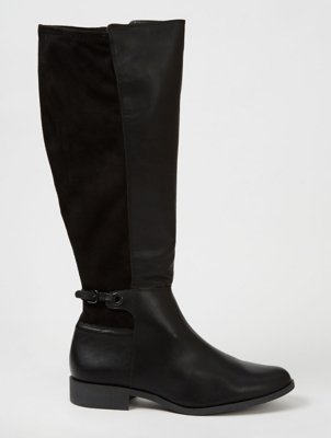 Black Suede Effect Panel Stretch Knee High Boots