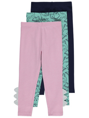 Pink Dinosaur Leggings 3 Pack