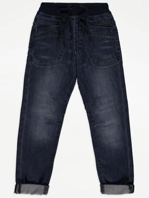 Dark Wash Jersey Waistband Straight Jeans