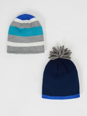 Blue Stripe Beanie Hats 2 Pack