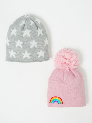 Pink Shimmer Rainbow Beanie Hats 2 Pack