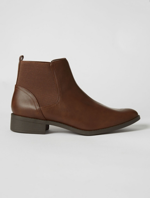 Brown Elasticated Panel Chelsea Boots