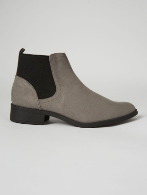 Wide Fit Grey Suede Effect Chelsea Boots