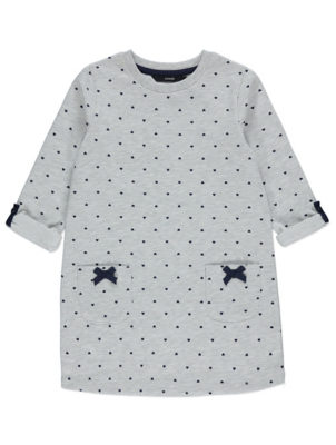 Grey Marl Heart Print Sweatshirt Dress