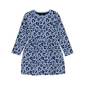 Blue Leopard Print Sweater Dress