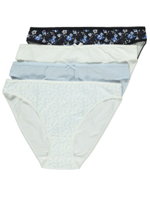 Blue Floral High Leg Knickers 4 Pack