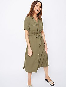 5eb627954642 Khaki Green Midi Shirt Dress