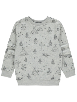 Grey Printed Christmas Sweatshirt