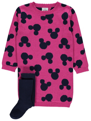 Disney Mickey Mouse Pink Dress and Tights Outfit