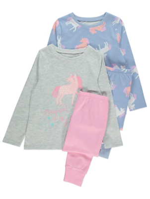 Pink and Blue Long Sleeve Unicorn Pyjamas 2 Pack