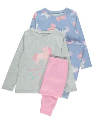 Pink and Blue Long Sleeve Unicorn Pyjamas 2 Pack