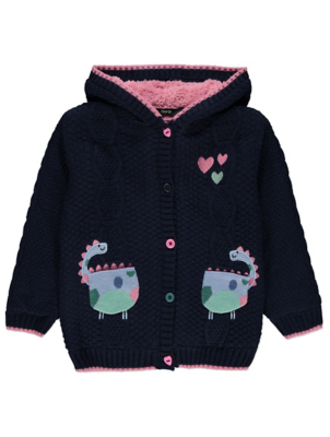 Navy Dinosaur Borg Lined Hooded Cardigan