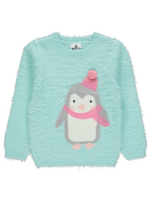 Blue Penguin Textured Christmas Jumper